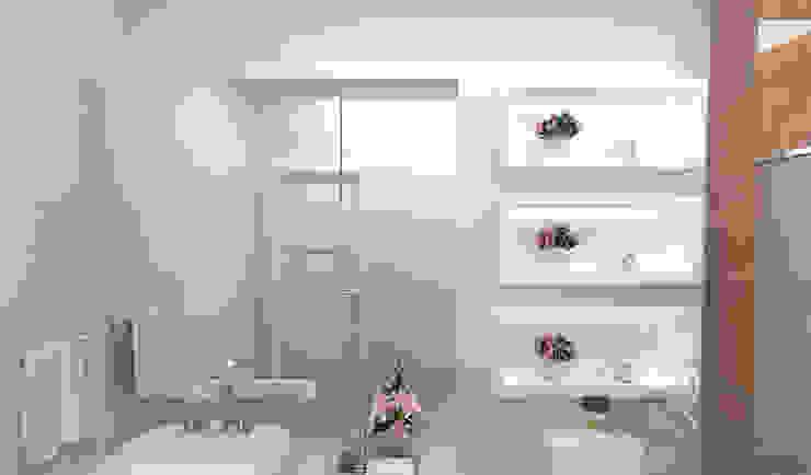 Banheiro Casal Rafaela Longhi Arquitetura e Interiores Banheiros clássicos MDF Branco