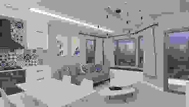 Yazlık Konut ASN İç Mimarlık Akdeniz Oturma Odası Ahşap Beyaz