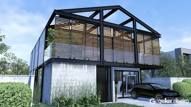 Casa Condominio Estrutura Metálica Gelker Ribeiro Arquitetura | Arquiteto Rio de Janeiro Condomínios Concreto Cinza