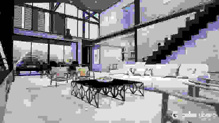 Interior Casa em Estrutura Metálica Gelker Ribeiro Arquitetura | Arquiteto Rio de Janeiro Salas de estar industriais Concreto Cinza