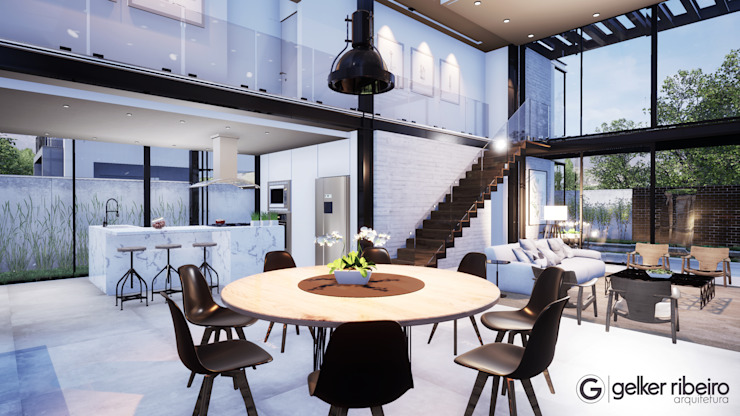 modern houses Gelker Ribeiro Arquitetura | Arquiteto Rio de Janeiro Industrial style dining room Wood Black