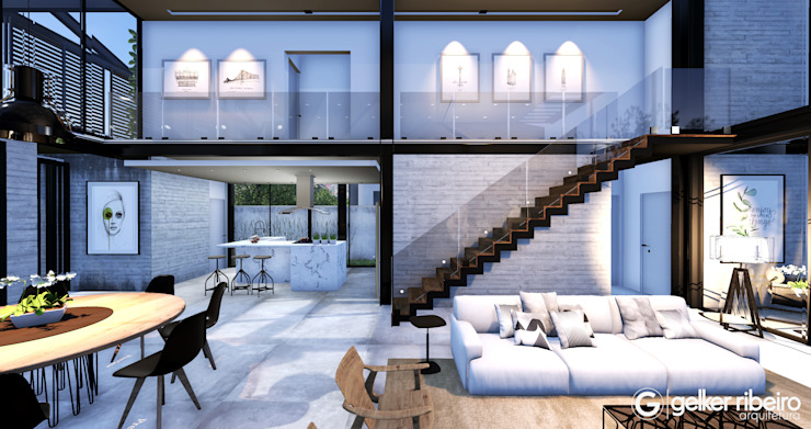 Salas de estilo industrial de Gelker Ribeiro Arquitetura | Arquiteto Rio de Janeiro Industrial Concreto