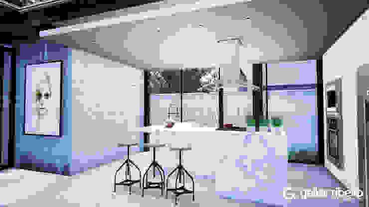 Cozinha Casa em Estrutura Metálica Gelker Ribeiro Arquitetura | Arquiteto Rio de Janeiro Armários e bancadas de cozinha Cerâmica Branco