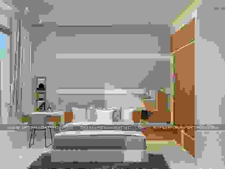 Nhà phố 1 trệt 2 lầu đẹp Phòng ngủ phong cách hiện đại bởi Công ty xây dựng nhà đẹp mới Hiện đại
