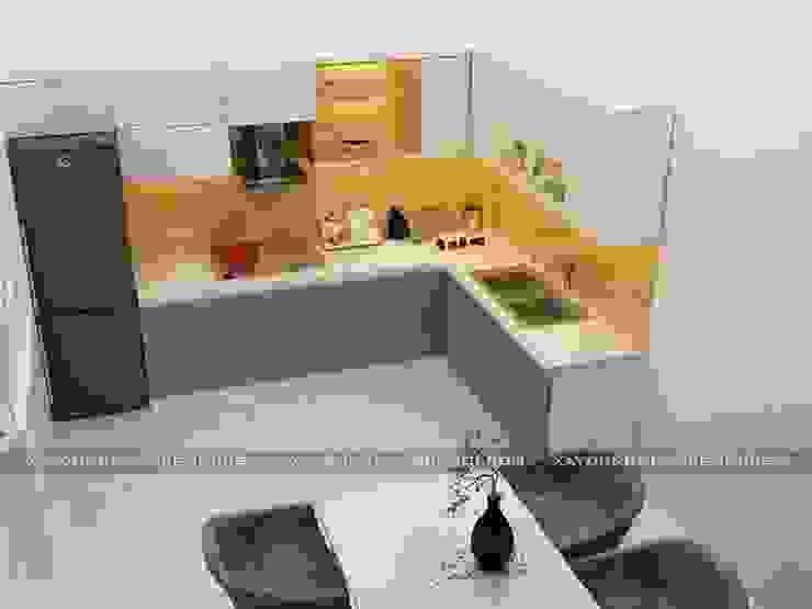Nhà phố 1 trệt 2 lầu đẹp Nhà bếp phong cách hiện đại bởi Công ty xây dựng nhà đẹp mới Hiện đại