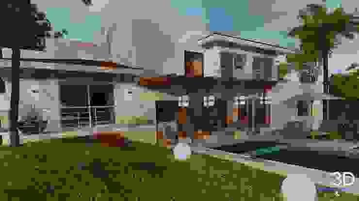 E+J Arquitectos Śródziemnomorski balkon, taras i weranda Drewno Beżowy