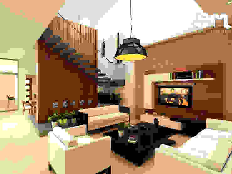 Sala Casa / Saldaña - Tolima _ Colombia Salas de estilo ecléctico de Taller 3M Arquitectura & Construcción Ecléctico Contrachapado