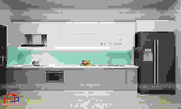 Ảnh thiết kế 3d tủ bếp laminate hình chữ I nhà anh Linh ở Thái Nguyên: tối giản  by Nội thất Hpro, Tối giản