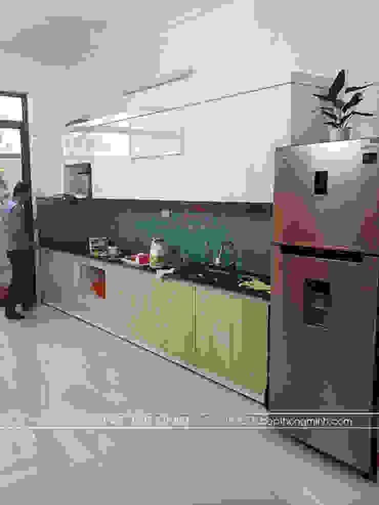 Hoàn thành tủ bếp laminate cho nhà anh Linh ở Thái Nguyên: tối giản  by Nội thất Hpro, Tối giản