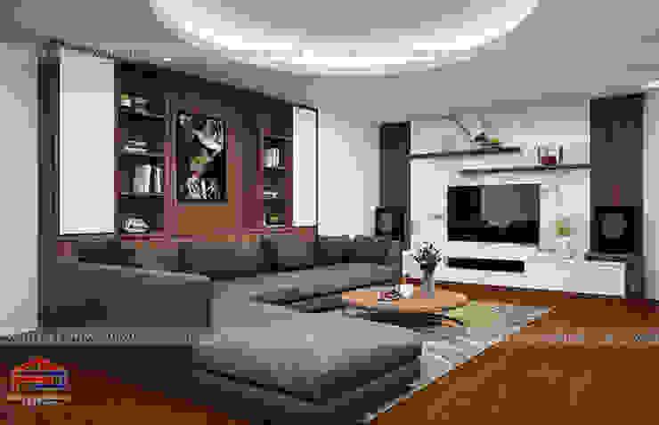 Ý tưởng thiết kế nội thất phòng khách gỗ công nghiệp An Cường nhà anh Phương ở Thanh Hóa: hiện đại  by Nội thất Hpro, Hiện đại