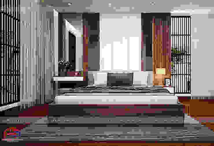 Ý tưởng thiết kế nội thất phòng ngủ master gỗ công nghiệp An Cường nhà anh Phương ở Thanh Hóa: hiện đại  by Nội thất Hpro, Hiện đại