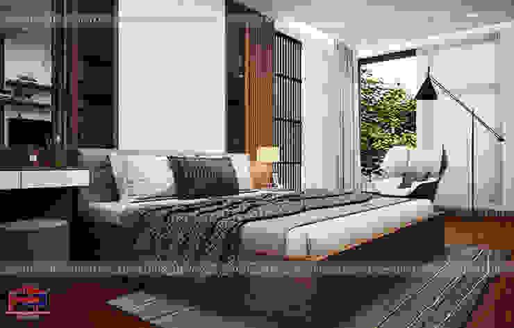 Ý tưởng thiết kế nội thất phòng ngủ gỗ công nghiệp An Cường nhà anh Phương ở Thanh Hóa - view 2: hiện đại  by Nội thất Hpro, Hiện đại