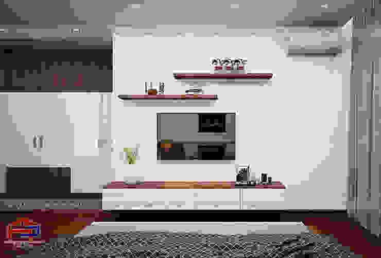 Ý tưởng thiết kế nội thất phòng ngủ master gỗ công nghiệp An Cường nhà anh Phương ở Thanh Hóa - view 3: hiện đại  by Nội thất Hpro, Hiện đại
