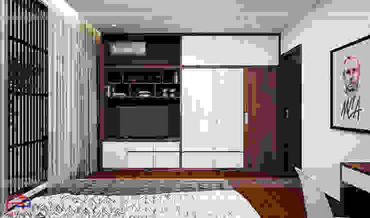 Thiết kế nội thất phòng ngủ của bé - Thiết kế tủ quần áo kết hợp kệ tivi: hiện đại  by Nội thất Hpro, Hiện đại