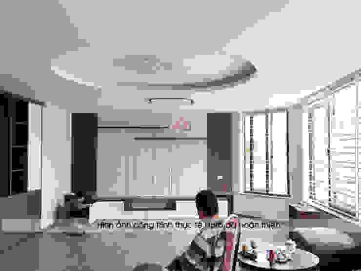 Thi công lắp đặt nội thất phòng khách nhà anh Phương ở thanh Hóa: hiện đại  by Nội thất Hpro, Hiện đại