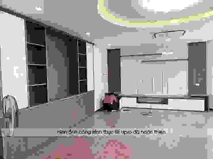 Ảnh thực tế nội thất phòng khách gỗ công nghiệp An Cường nhà anh Phương ở Thanh Hóa: hiện đại  by Nội thất Hpro, Hiện đại