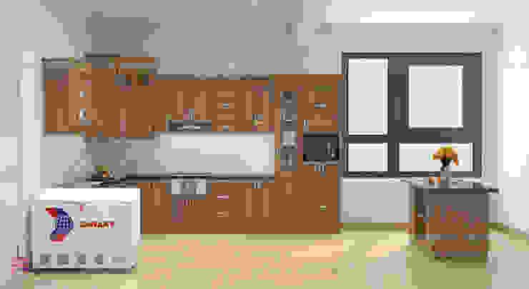 Ảnh thiết kế 3d tủ bếp gỗ sồi Nga sơn màu hạt giẻ nhà chị Tuyết ở Hòa Bình: hiện đại  by Nội thất Hpro, Hiện đại