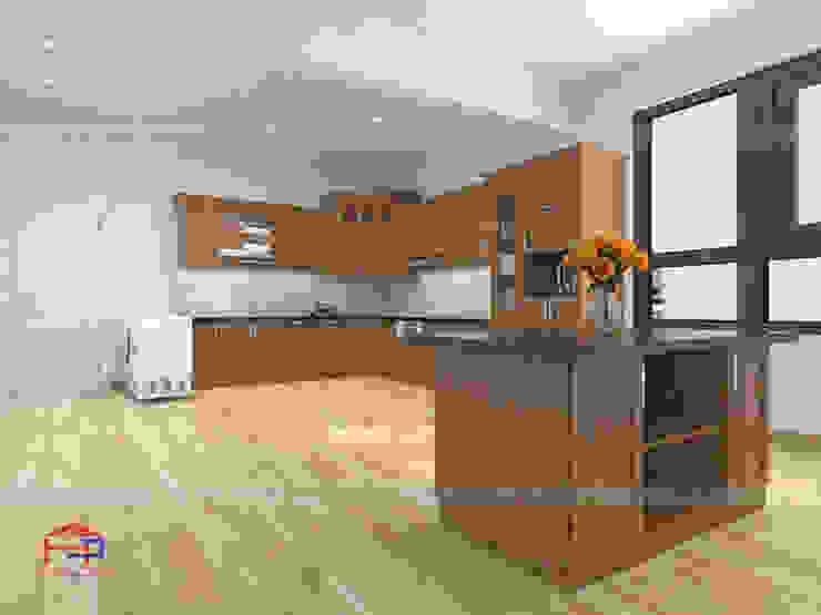 Ảnh thiết kế 3D tủ bếp gỗ sồi Nga nhà chị Tuyết ở Hòa Bình - view 2: hiện đại  by Nội thất Hpro, Hiện đại