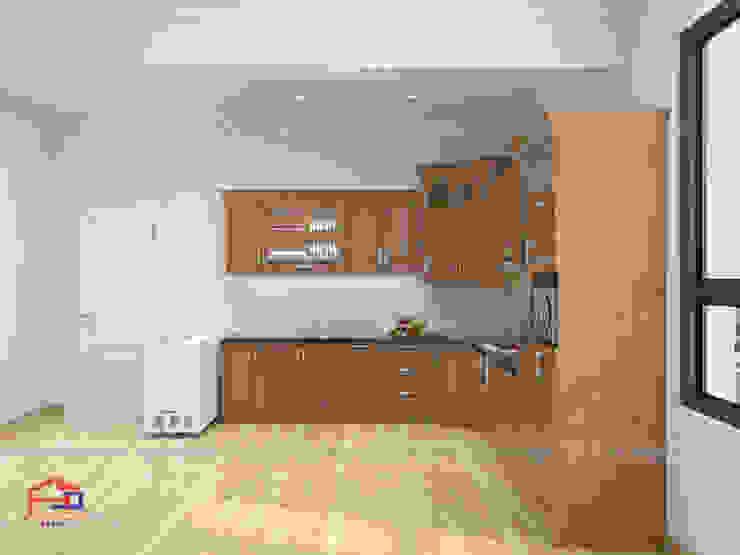 Ảnh thiết kế 3D tủ bếp gỗ sồi nga sơn màu hạt giẻ nhà chị Tuyết ở Hòa Bình - view 3: hiện đại  by Nội thất Hpro, Hiện đại