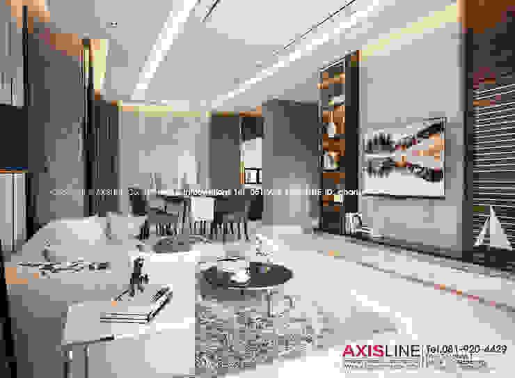Living area : ออกแบบตกแต่งภายในบ้าน พร้อมรับเหมาครบวงจร (คุณปรีชา) : ทันสมัย  โดย บริษัทแอคซิสลาย จำกัด, โมเดิร์น