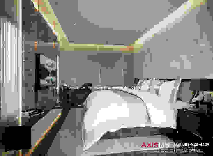 Master bedroom : ออกแบบตกแต่งภายในบ้าน พร้อมรับเหมาครบวงจร (คุณปรีชา) : ทันสมัย  โดย บริษัทแอคซิสลาย จำกัด, โมเดิร์น