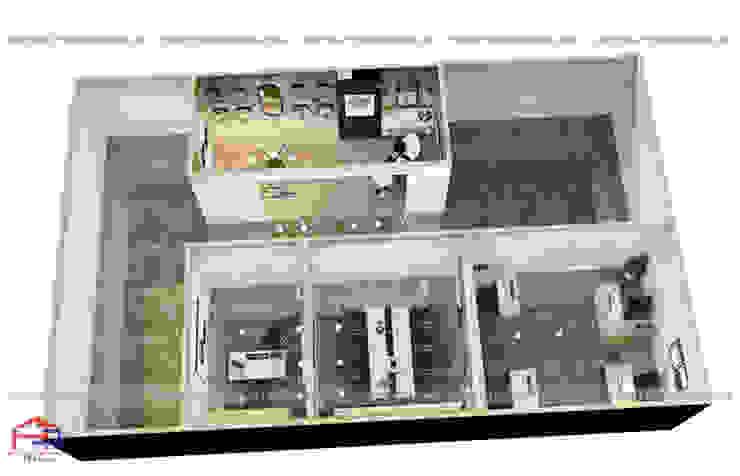 Ảnh thiết kế 3d tổng thể nội thất gỗ laminate nhà máy mỹ phẩm Kenly Jang tại Quảng Ninh: công nghiệp  by Nội thất Hpro, Công nghiệp