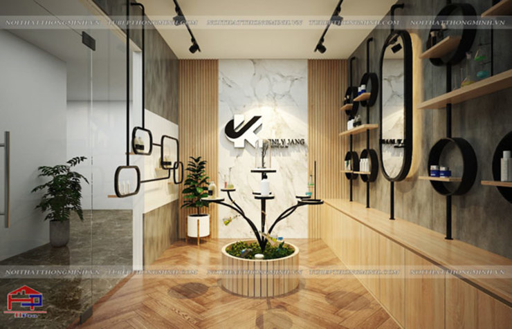 Ảnh thiết kế 3D nội thất gỗ laminate phòng showroom trưng bày mỹ phẩm nhà máy Kenly Jang: công nghiệp  by Nội thất Hpro, Công nghiệp