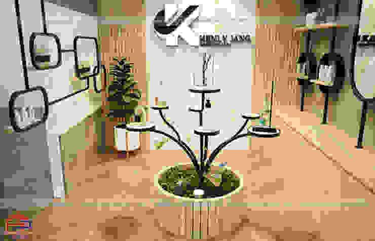 Ảnh thiết kế 3D nội thất gỗ laminate trong showroom nhà máy Kenly Jang: công nghiệp  by Nội thất Hpro, Công nghiệp