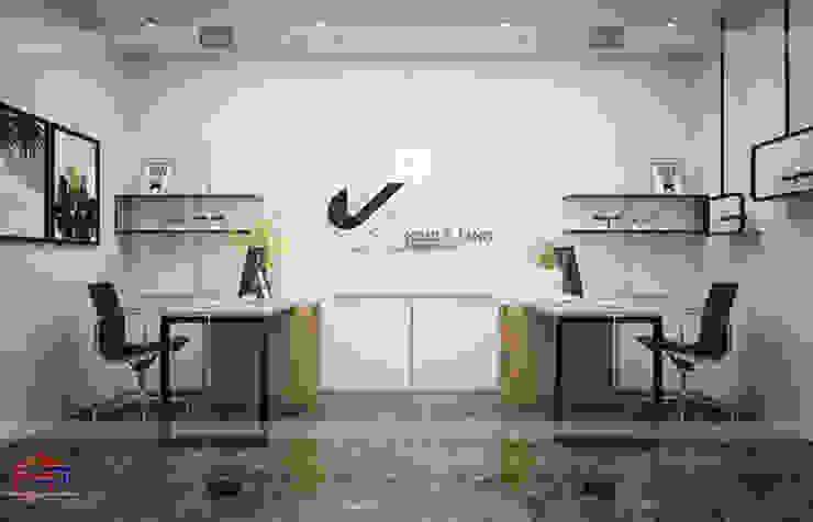 Ảnh thiết kế 3D nội thất gỗ laminate phòng thiết kế trong nhà máy Kenly Jang: công nghiệp  by Nội thất Hpro, Công nghiệp