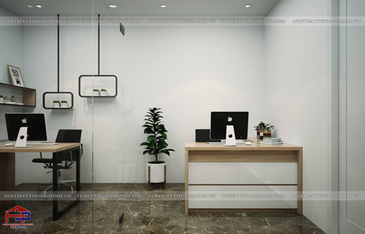 Ảnh thiết kế 3D nội thất laminate phòng thiết kế nhà máy Kenly Jang - view 3: công nghiệp  by Nội thất Hpro, Công nghiệp