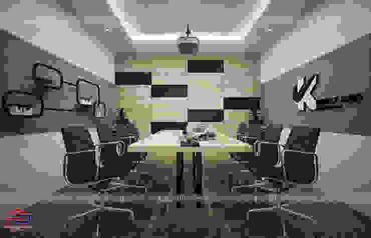 Ảnh thiết kế 3D nội thất gỗ laminate phòng họp nhà máy Kenly Jang: công nghiệp  by Nội thất Hpro, Công nghiệp