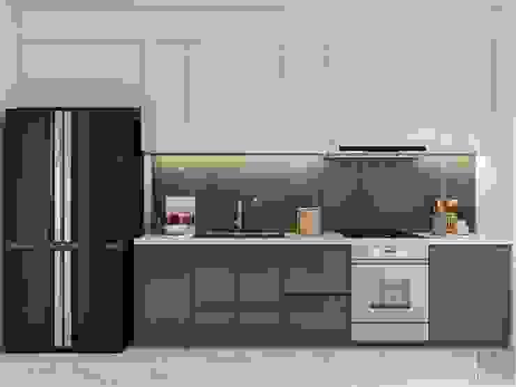 Thiết kế nội thất hiện đại tại căn hộ Landmark 4 – Khu đô thị Vinhomes Central Park Nhà bếp phong cách hiện đại bởi ICON INTERIOR Hiện đại