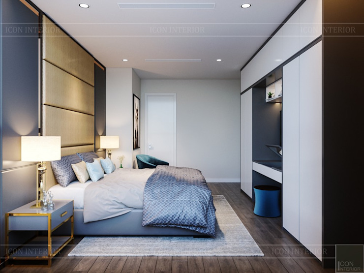 Thiết kế nội thất hiện đại tại căn hộ Landmark 4 – Khu đô thị Vinhomes Central Park Phòng ngủ phong cách hiện đại bởi ICON INTERIOR Hiện đại