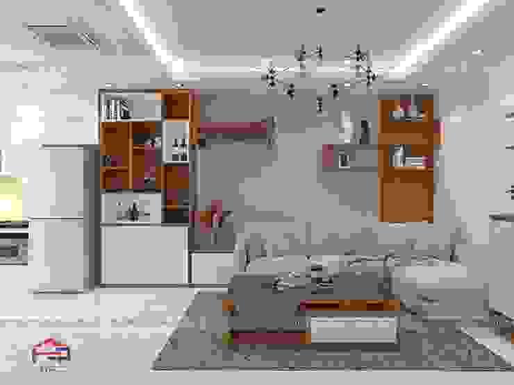 Ảnh thiết kế 3D nội thất phòng khách gỗ công nghiệp An Cường nhà anh Mai ở Việt Trì: hiện đại  by Nội thất Hpro, Hiện đại