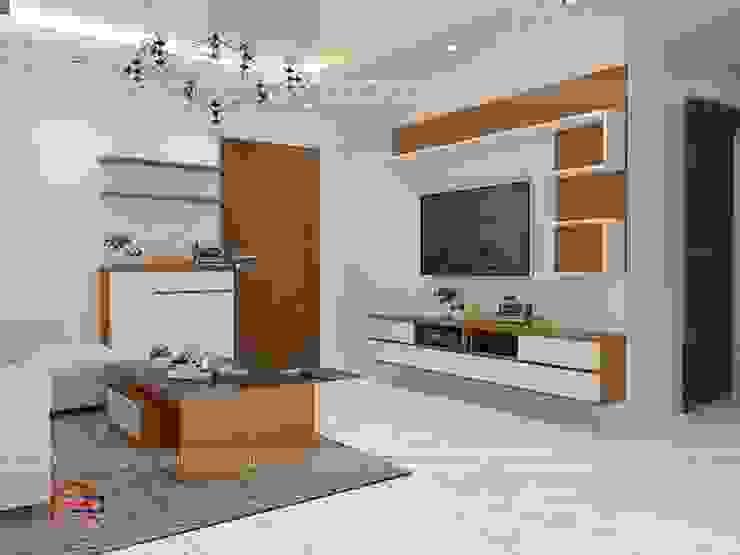 Ảnh thiết kế 3D nội thất phòng khách gỗ công nghiệp An Cường nhà anh Mai ở Việt Trì - view 2: hiện đại  by Nội thất Hpro, Hiện đại