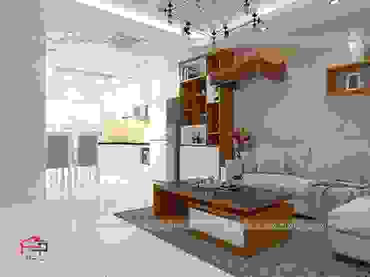 Ảnh thiết kế 3D nội thất phòng khách gỗ công nghiệp An Cường nhà anh Mai ở Việt Trì - view 3: hiện đại  by Nội thất Hpro, Hiện đại