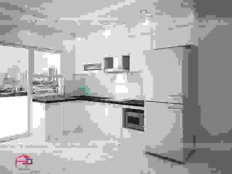 Ảnh thiết kế 3D tủ bếp acrylic chữ L nhà anh Mai ở Việt Trì: hiện đại  by Nội thất Hpro, Hiện đại