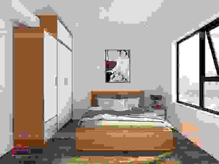 Thiết kế nội thất phòng ngủ master gỗ melamine nhà anh Mai ở Việt Trì: hiện đại  by Nội thất Hpro, Hiện đại