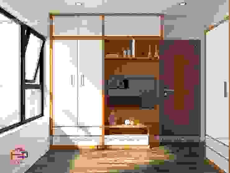 Ảnh thiết kế 3D tủ quần áo kèm kệ tivi trong phòng ngủ master nhà anh Mai ở Việt Trì: hiện đại  by Nội thất Hpro, Hiện đại