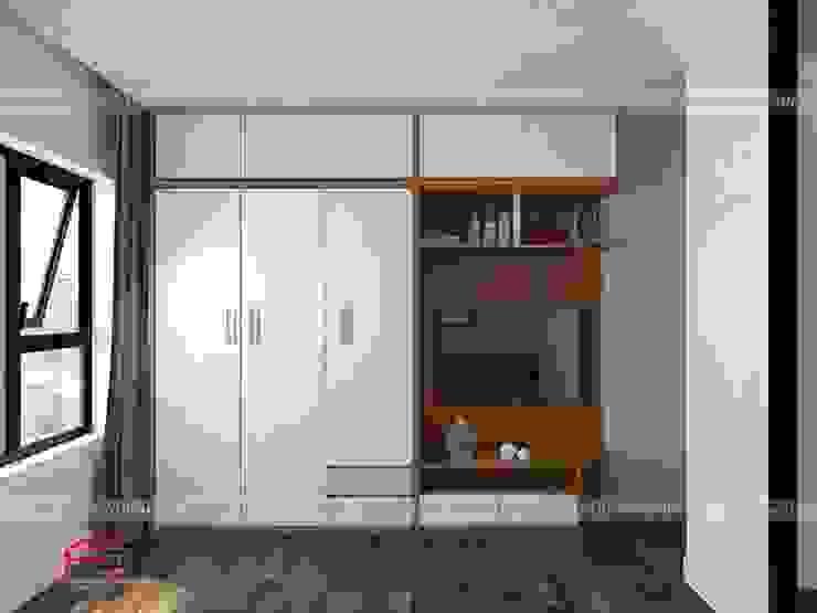 Ảnh thiết kế 3D tủ quần áo đa năng trong phòng ngủ con gái nhà anh Mai ở Việt Trì: hiện đại  by Nội thất Hpro, Hiện đại