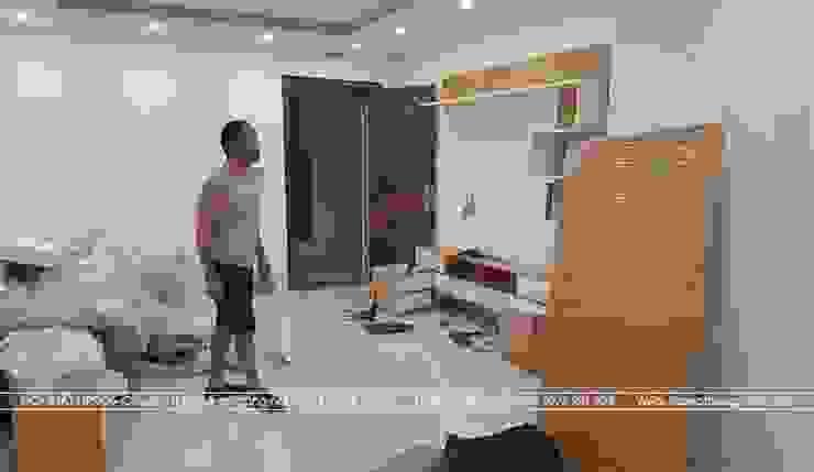 Thi công nội thất phòng khách gỗ công nghiệp An Cường nhà anh Mai ở Việt Trì: hiện đại  by Nội thất Hpro, Hiện đại