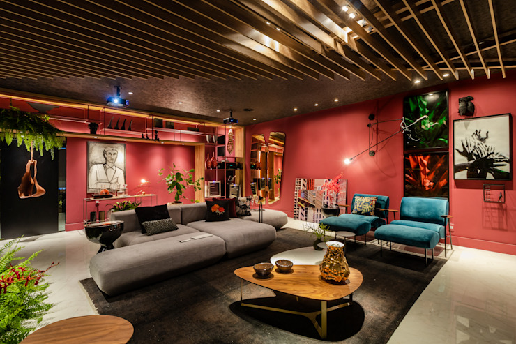 Sala da Imagem e do Som | Casa Cor PE 2018 |Design por Arquitetura Sônia Beltrão & associados Moderno Madeira Efeito de madeira