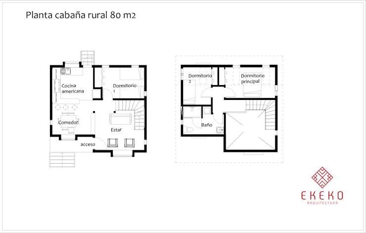 Planos de planta de Ekeko Arquitectura Rural