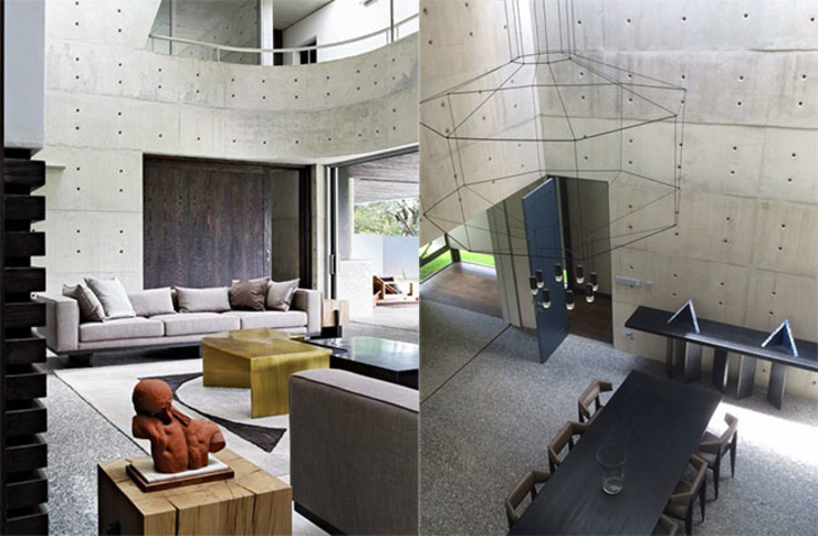 Articulated concrete house Modern Living Room by PWM Architects Modern