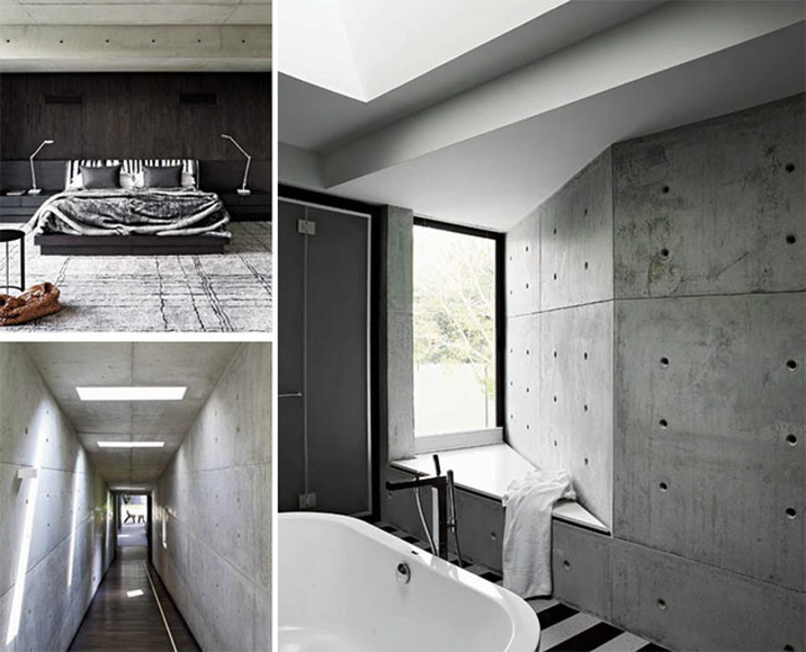 Articulated concrete house Modern Bathroom by PWM Architects Modern