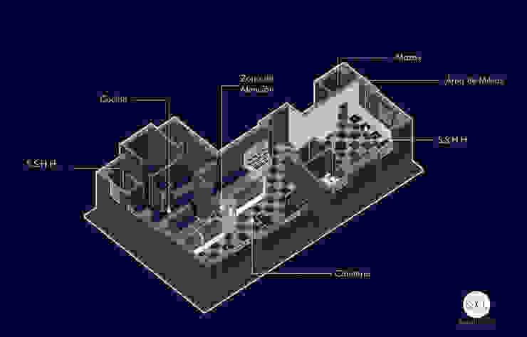 VISTA DISTRIBUCIÓN de SXL ARQUITECTOS Minimalista Aluminio/Cinc