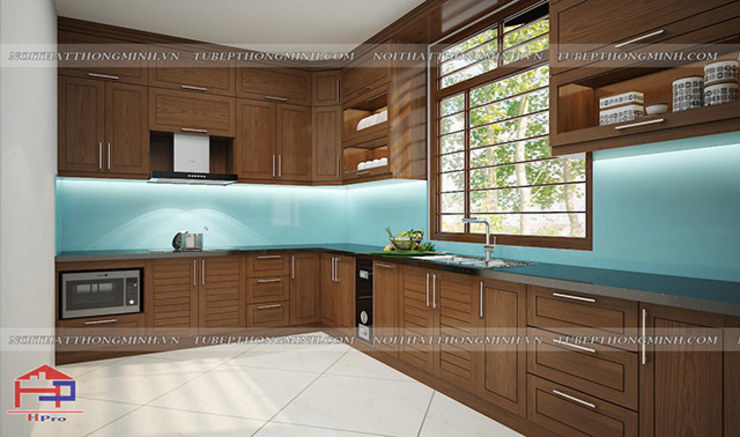 Ảnh thiết kế 3D tủ bếp gỗ sồi mỹ chữ L nhà anh Huy ở Mai Dịch: hiện đại  by Nội thất Hpro, Hiện đại