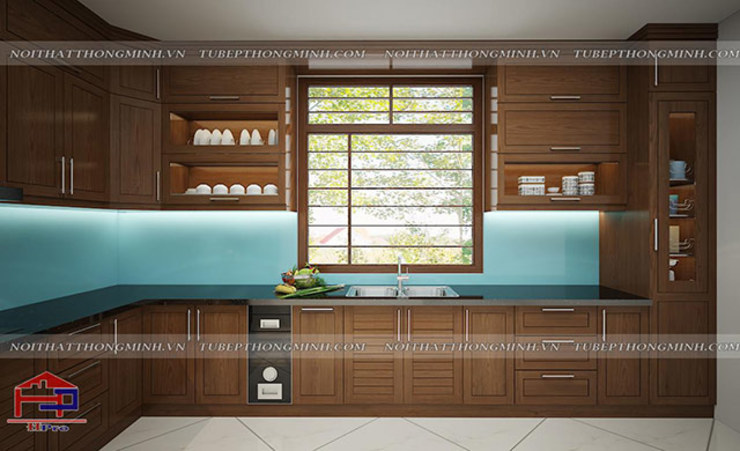 Ảnh thiết kế 3D tủ bếp gỗ sồi mỹ nhà anh Huy - view 2: hiện đại  by Nội thất Hpro, Hiện đại