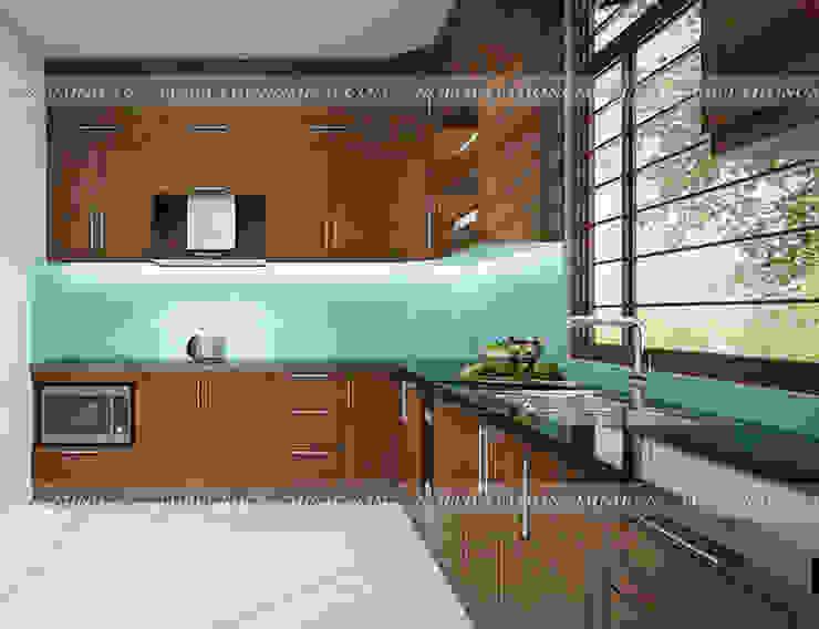 Ảnh thiết kế 3D tủ bếp gỗ sồi mỹ nhà anh Huy ở Mai Dịch - view 3: hiện đại  by Nội thất Hpro, Hiện đại
