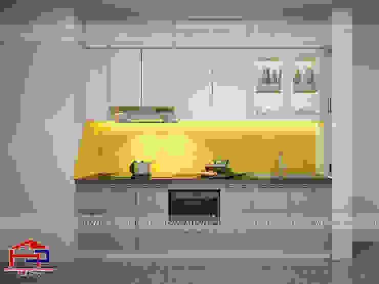 Ảnh thiết kế 3D tủ bếp acrylic kèm vách ngăn nhà anh Điệp ở Athena Xuân Phương: hiện đại  by Nội thất Hpro, Hiện đại